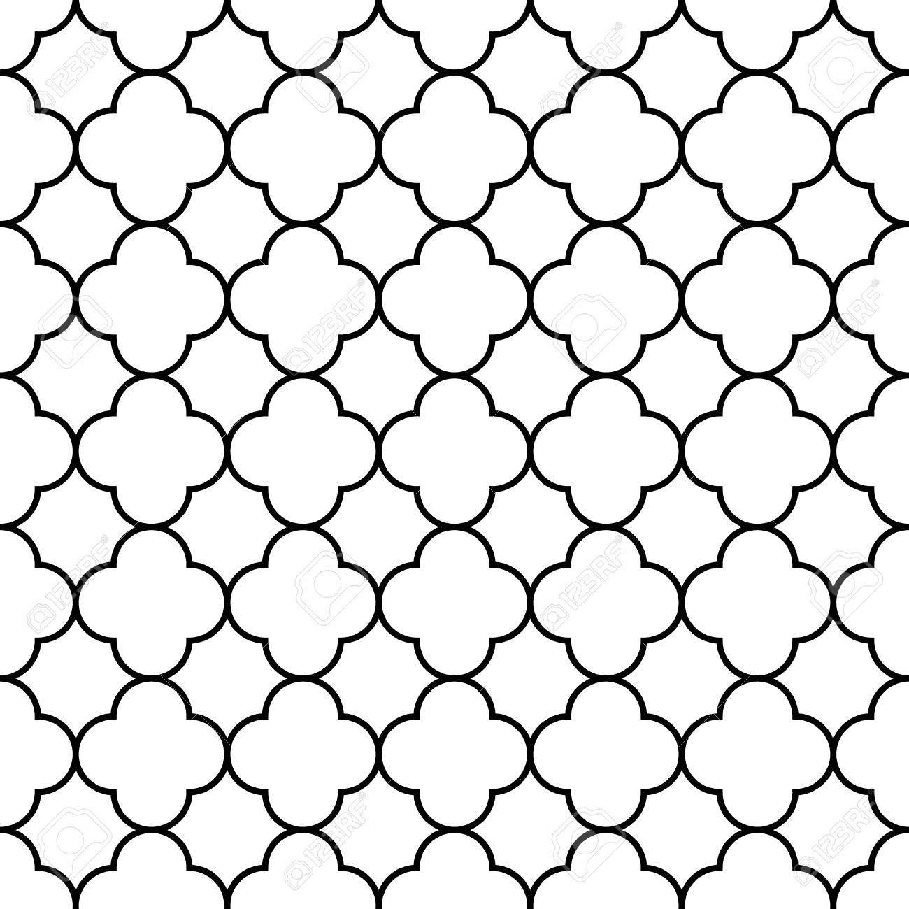 Black and white arabic traditional geometric quatrefoil seamless pattern - 58976996