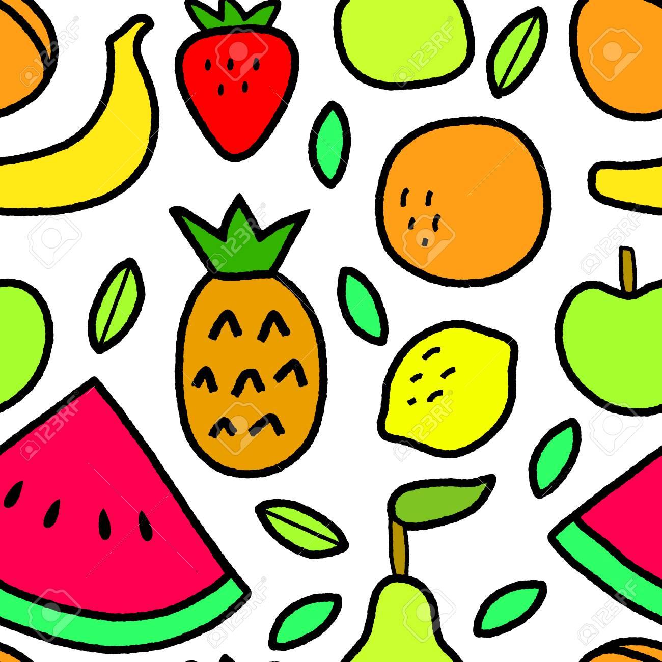 簡単な果物と葉の白いシームレスなパターン ベクトルしますのイラスト