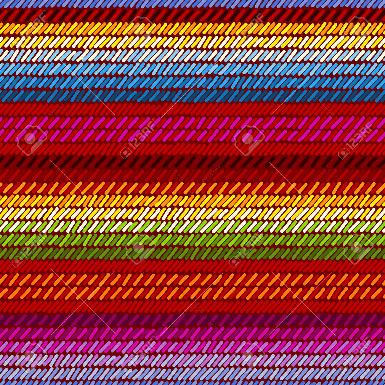 Colorido mexicano serape manta alfombra tejida a rayas de tela patrón transparente, vector.