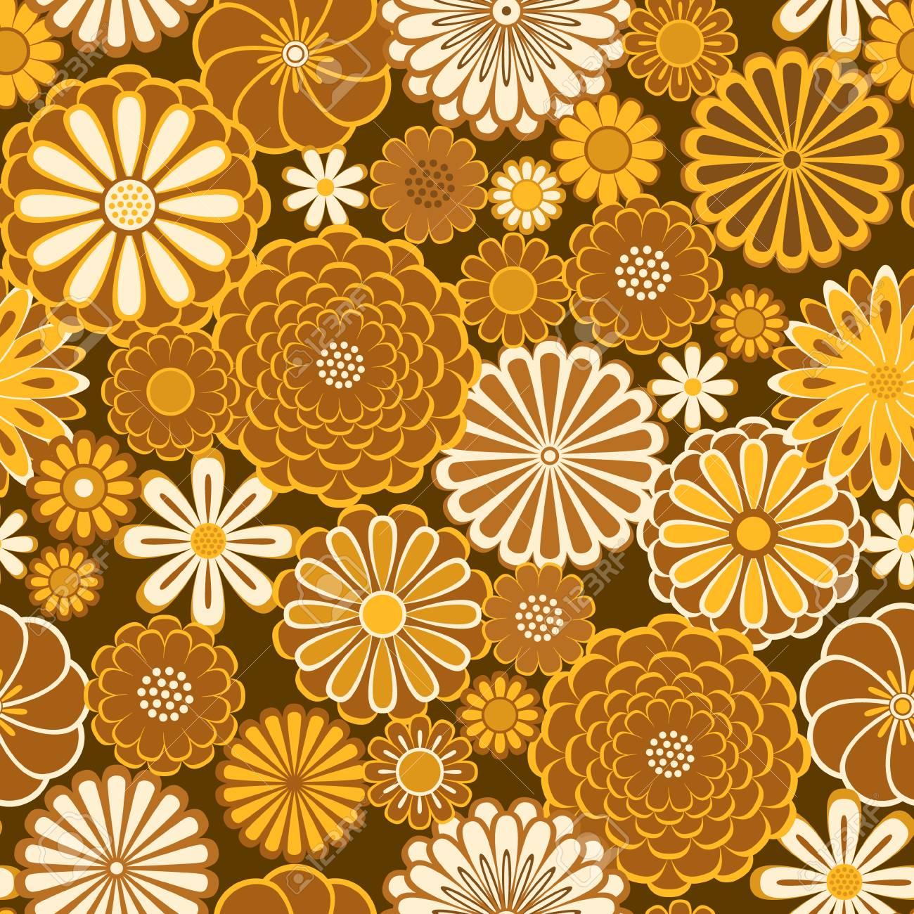 Golden orange circle daisy flowers natural seamless pattern, vector - 98699204