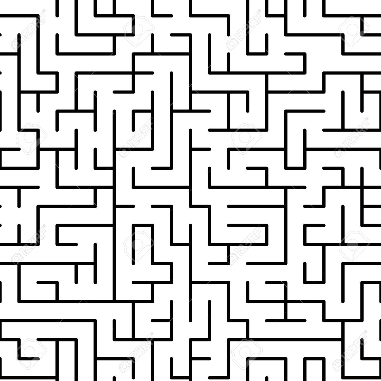 Black And White Maze Puzzle Seamless Pattern Vector Background
