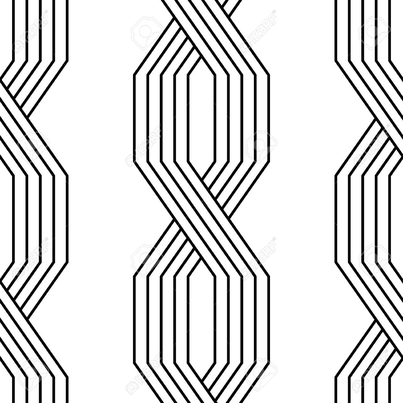 Black and white lines geometric art deco style simple seamless..