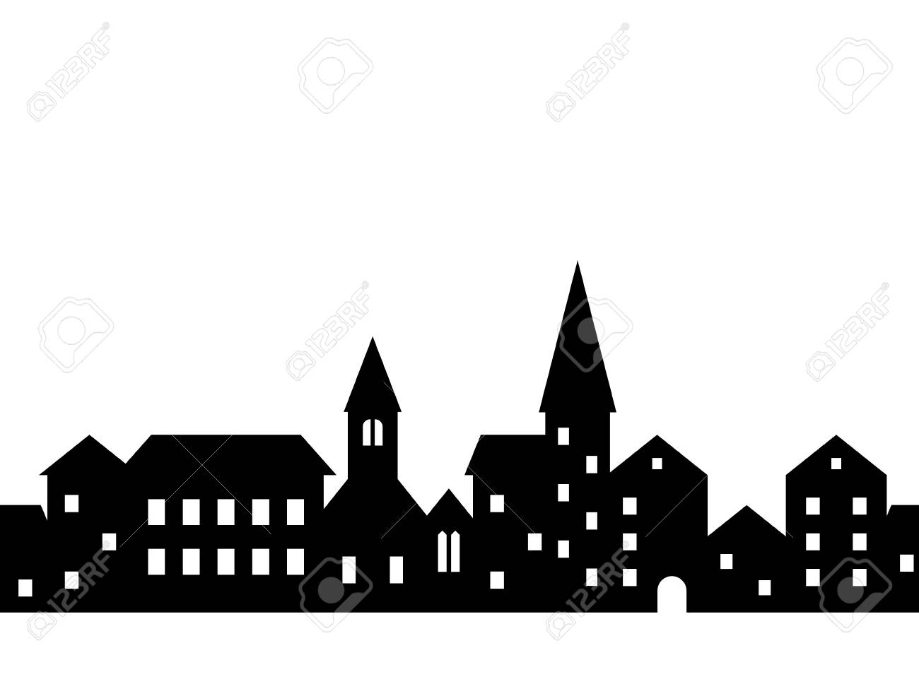 Black and white houses and buildings small town street seamless border, vector - 117889391