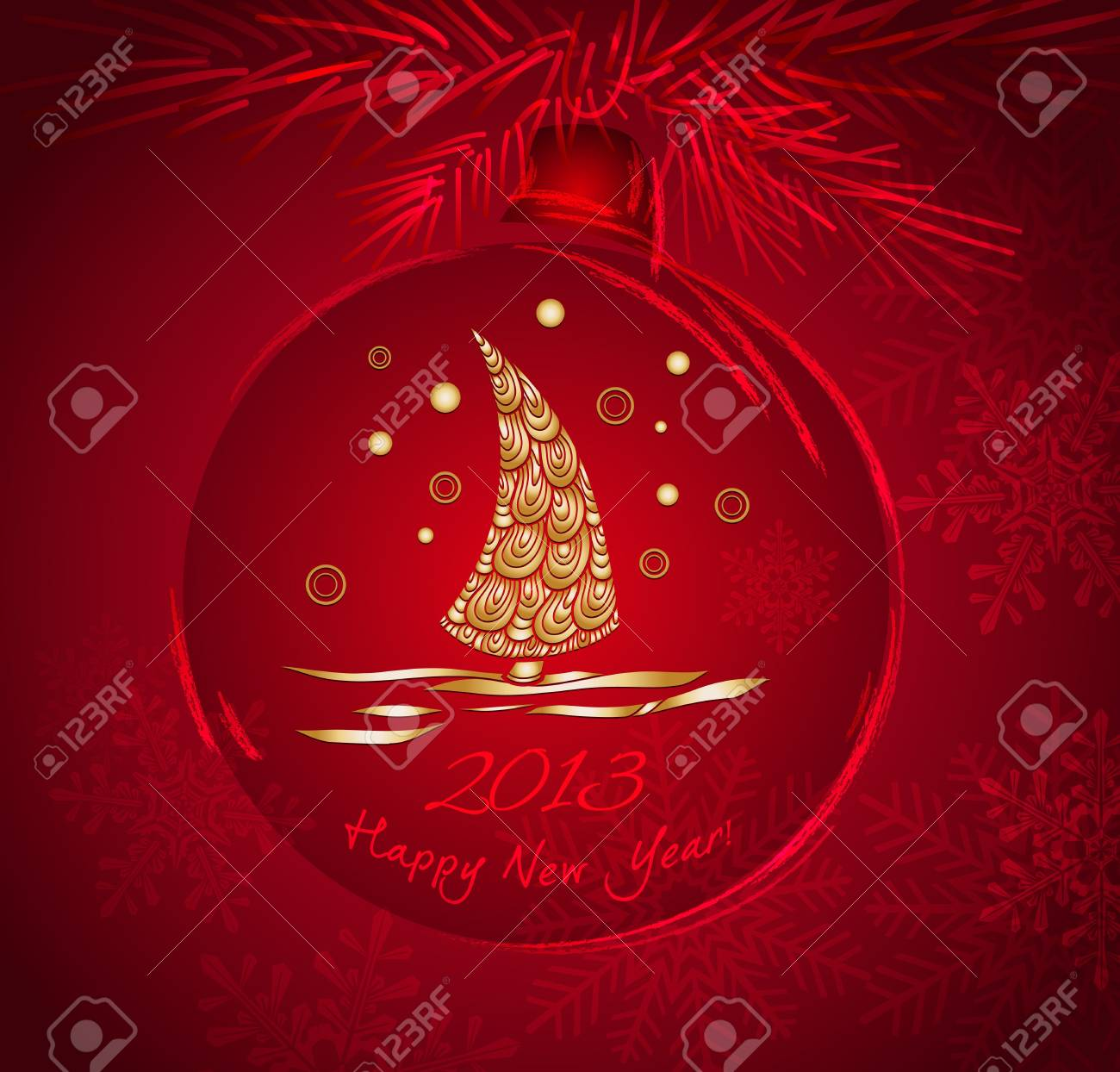 Christmas ball with gold pattern Stock Vector - 16700043