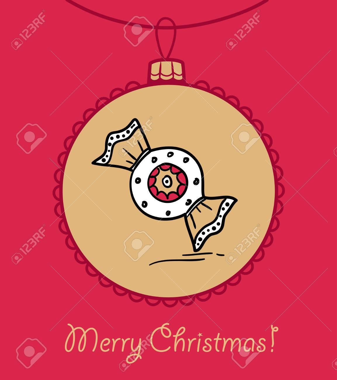 Weihnachtskugel Mit Lebkuchen Süßigkeiten. Vektor-Illustration. Sie ...
