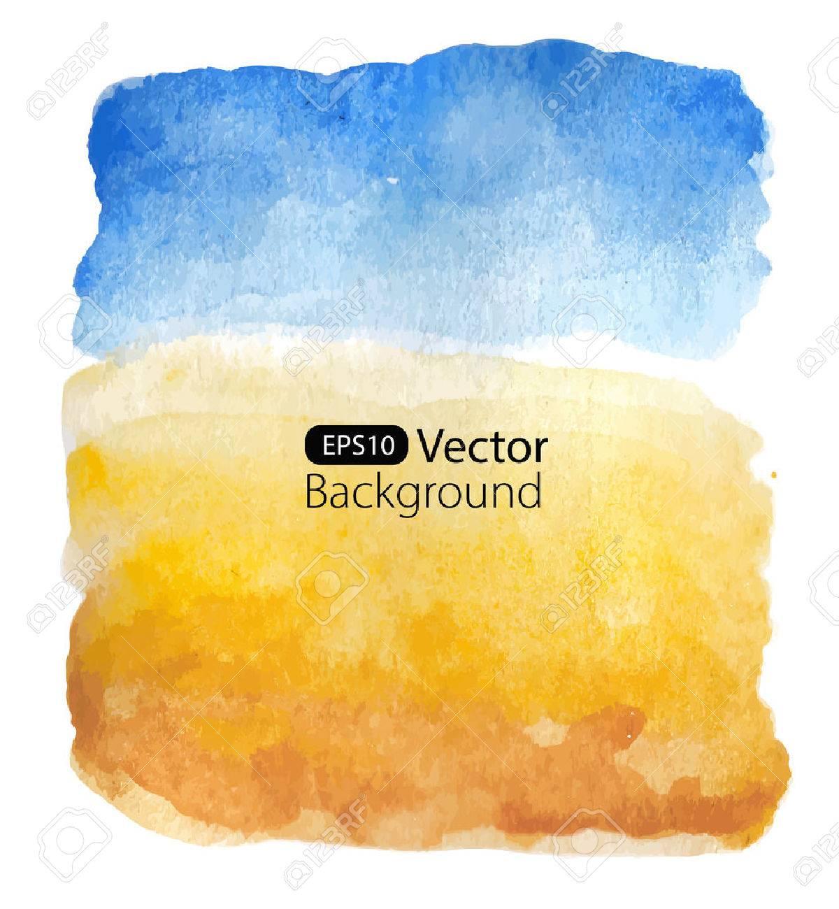 Summer sunny landscape. Vector background. Watercolor illustration - 42045601