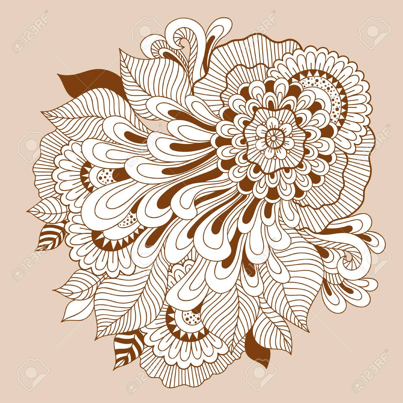 beautiful doodle art floral composition henna tattoo flower