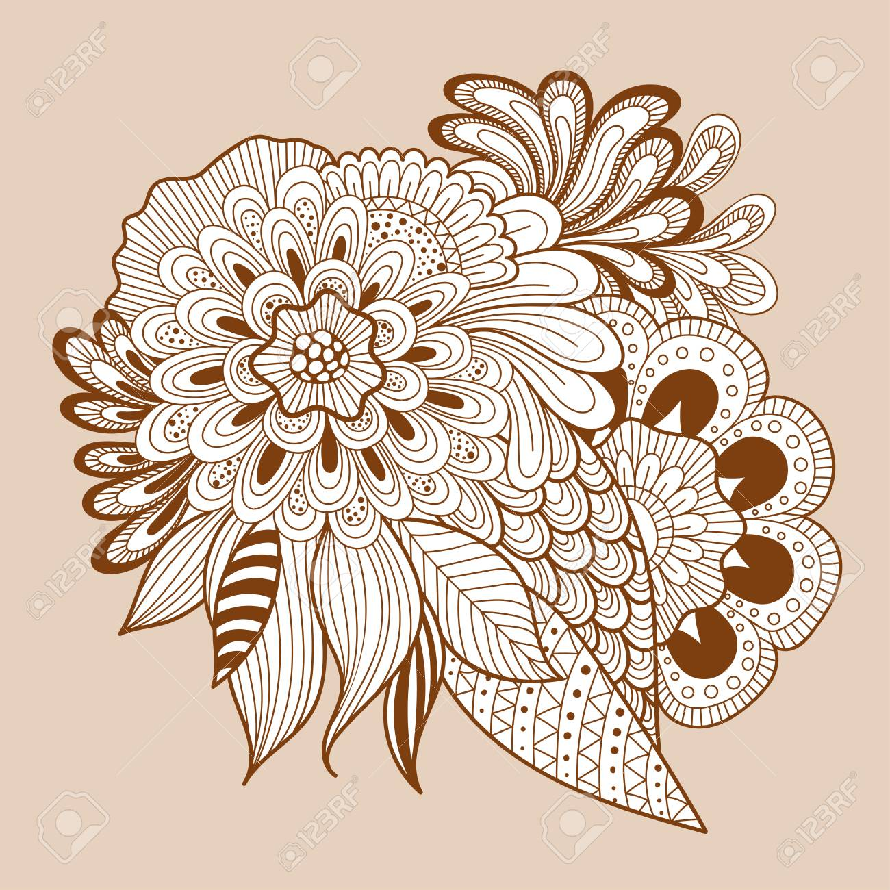 Schöne Doodle Kunst Blumen Zusammensetzung Henna Tattoo Blume