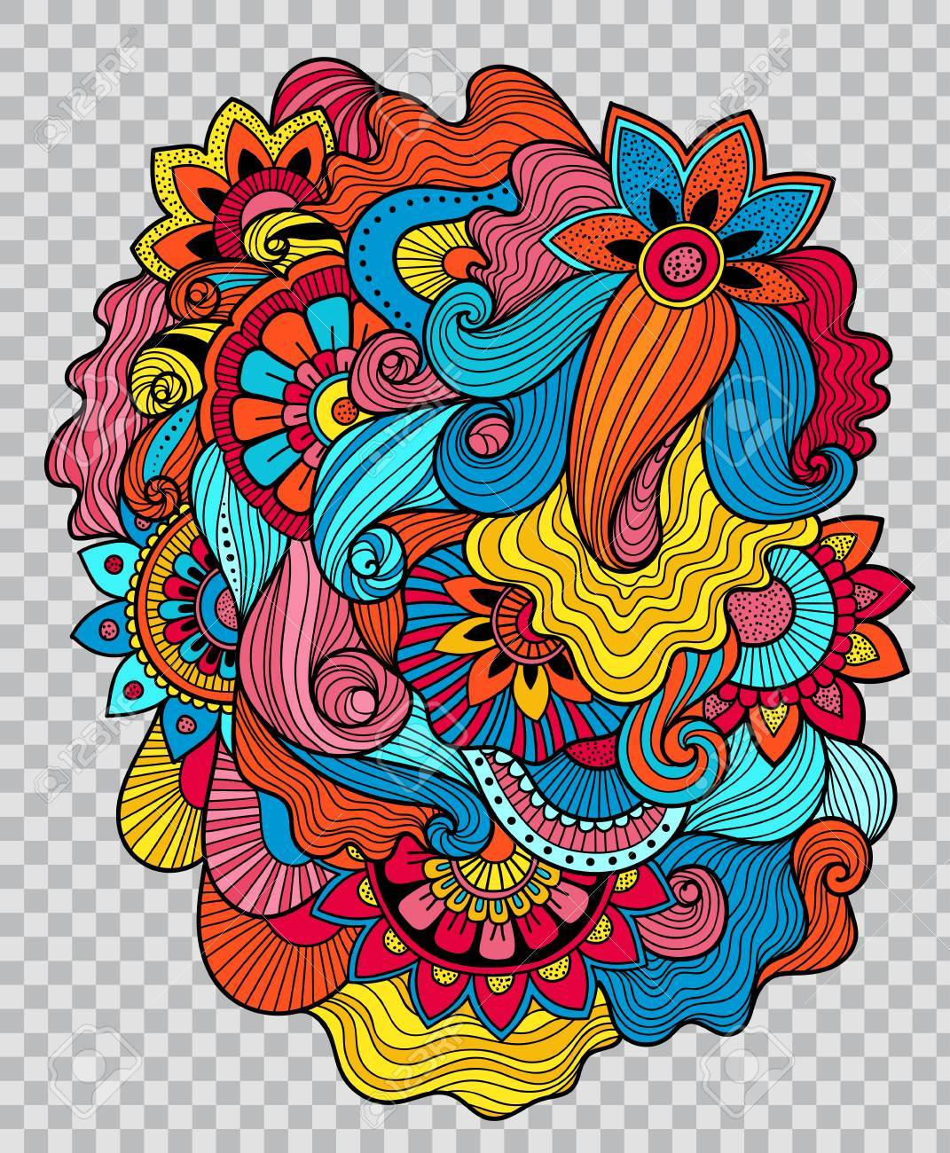 Colored floral tattoo artwork. Flower composition for tattoo..