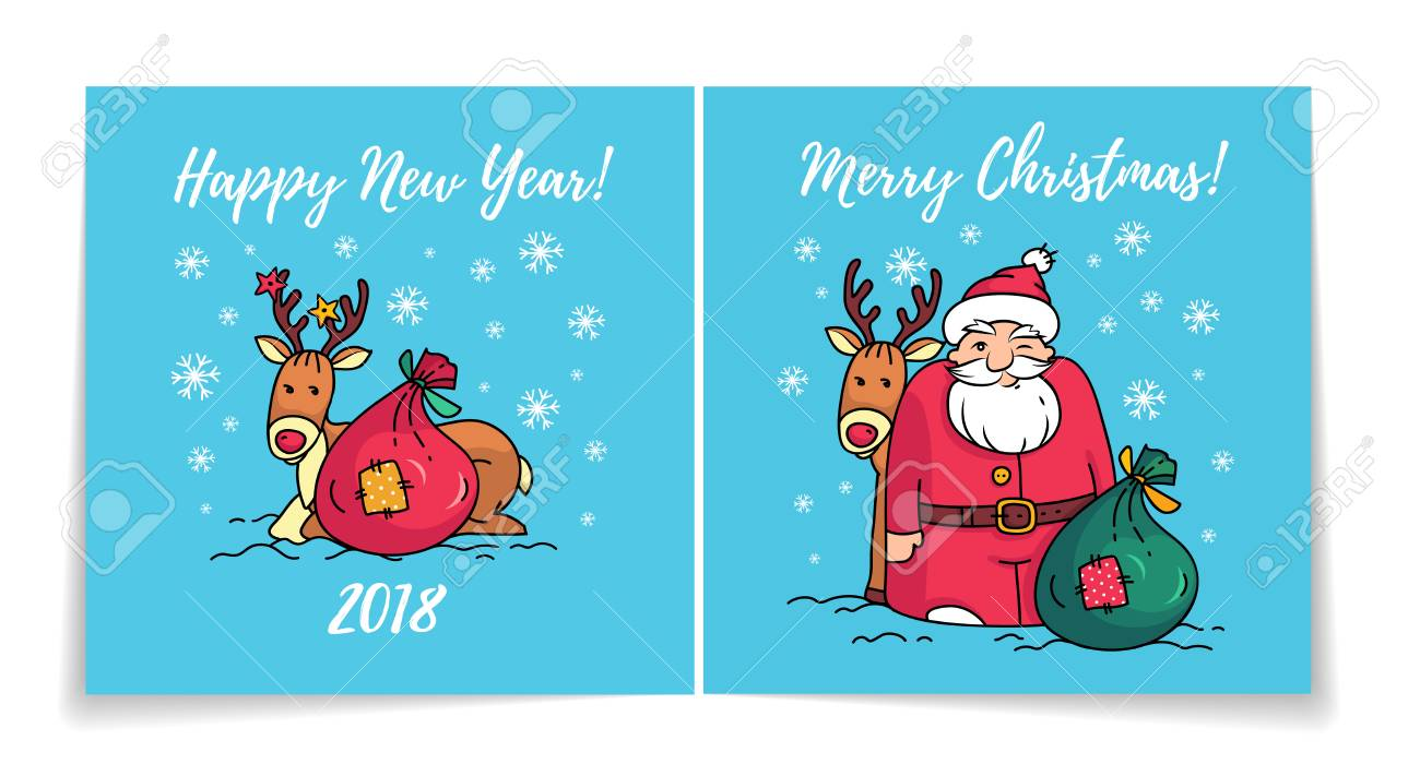 Merry Christmas Card With Santa Claus. Cover And Back Of Holiday ...