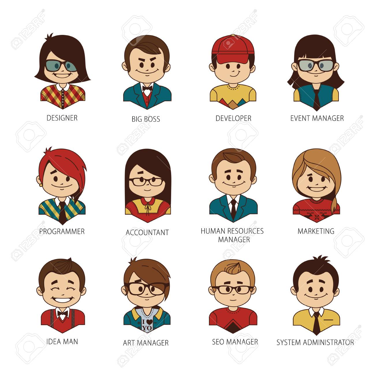 Set Of Round People Icons Your Office Team. Collection Of Professions In IT  Company.