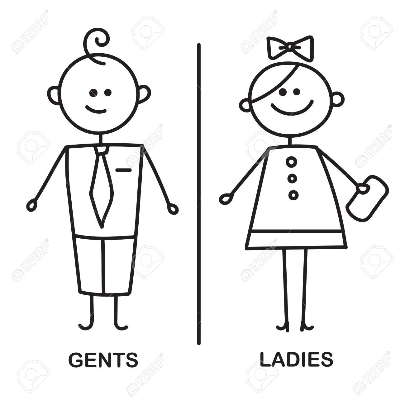 Symboles De Plaque De Porte De Wc Drole Signe De Wc Icone De Plaque De Porte De Toilette Gents Et Dames Wc Signent Pour Les Toilettes Croquis De Vecteur Banque D Images Et