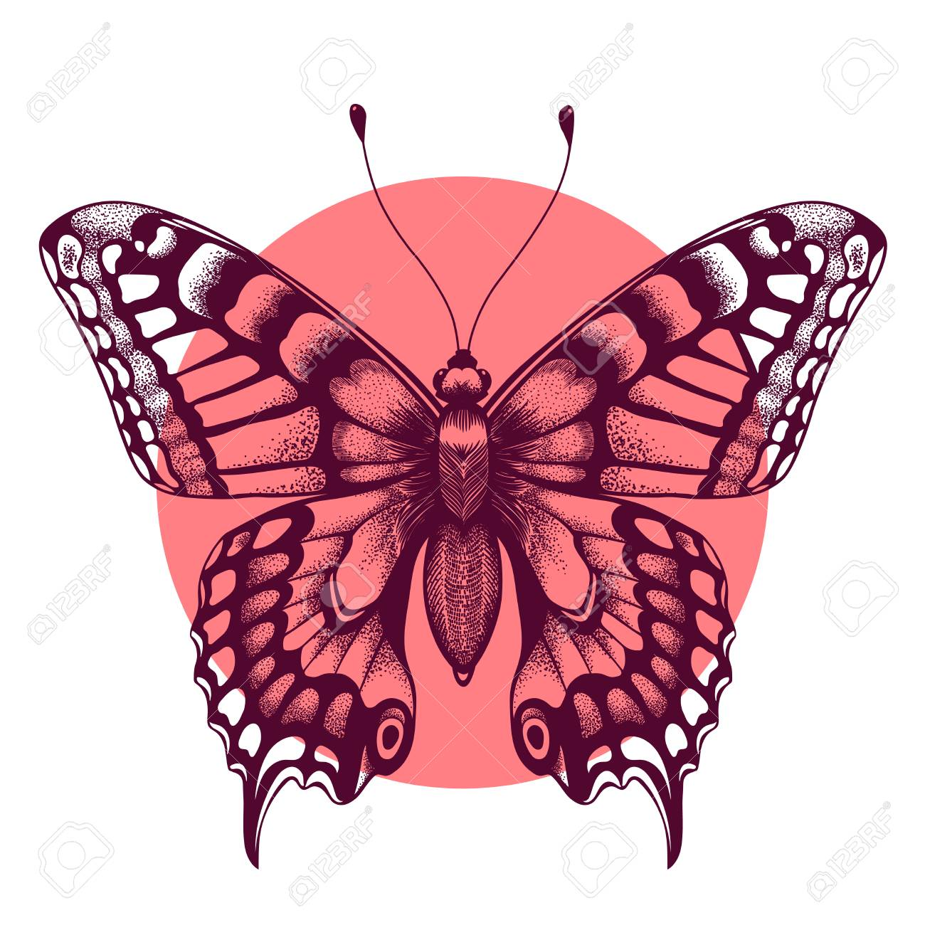 646a3fa198d81 Vector - Vector illustration of butterfly in circle for design and  decoration. Beautiful tattoo for your forearm. Symbol of immortal soul.  Element Air