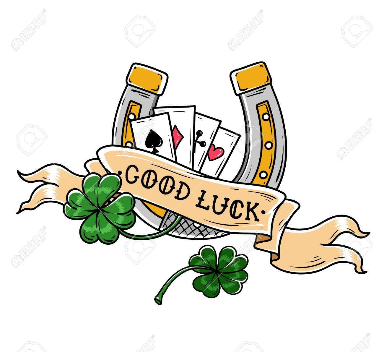 Tattoo Horseshoe Four Leaf Clover And Playing Cards Good Luck Royalty Free Cliparts Vectors And Stock Illustration Image 95030709