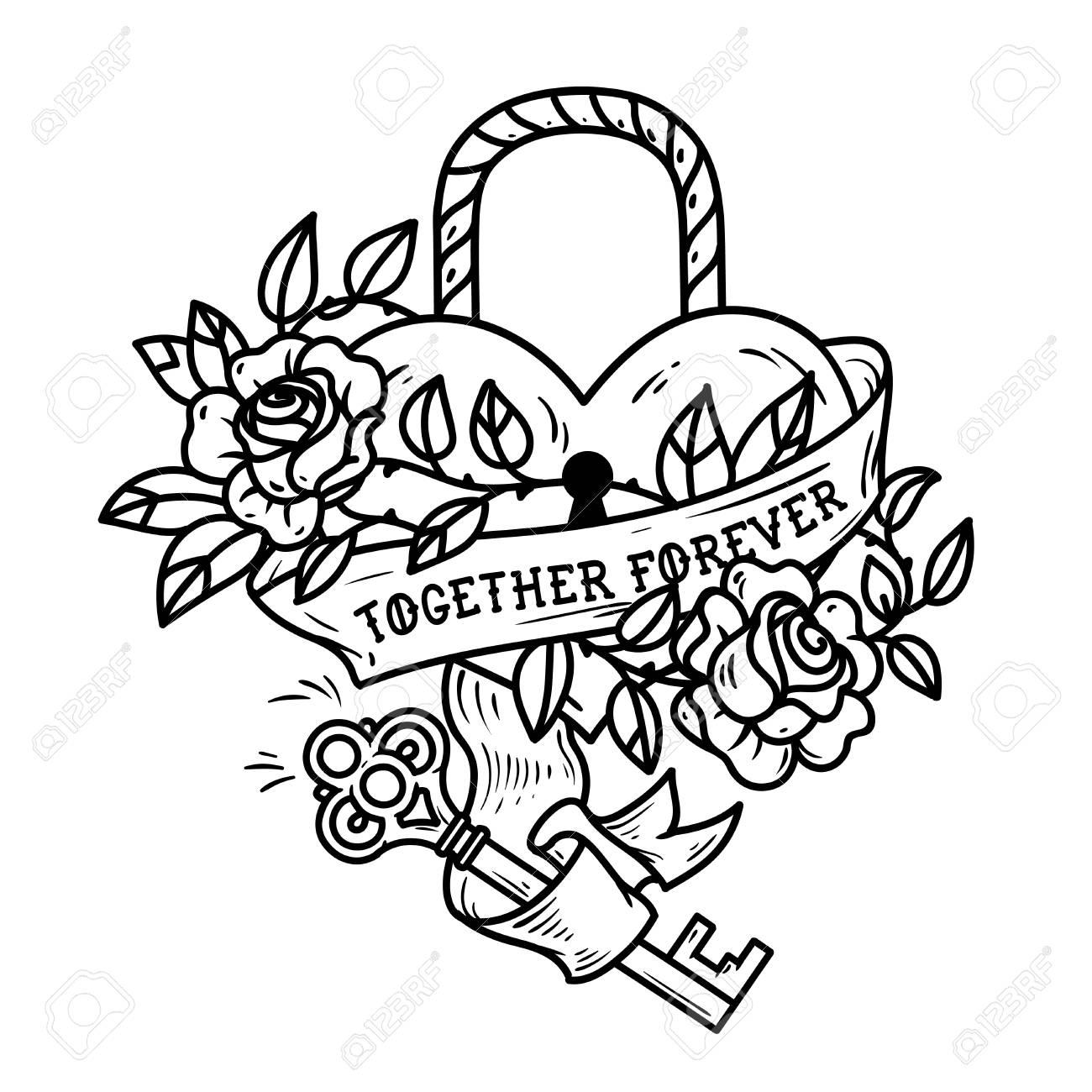 Heart Shaped Lock Tattoo Heart Under Lock And Key Royalty Free