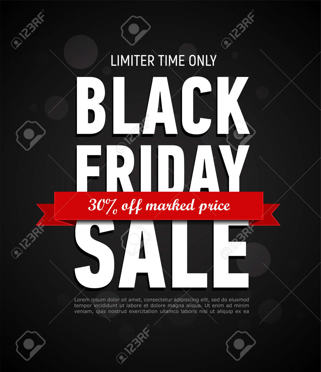 Black Friday sale inscription design template. Trendy banner. Discount 30 off marked price. Advertising banner. - 155192510