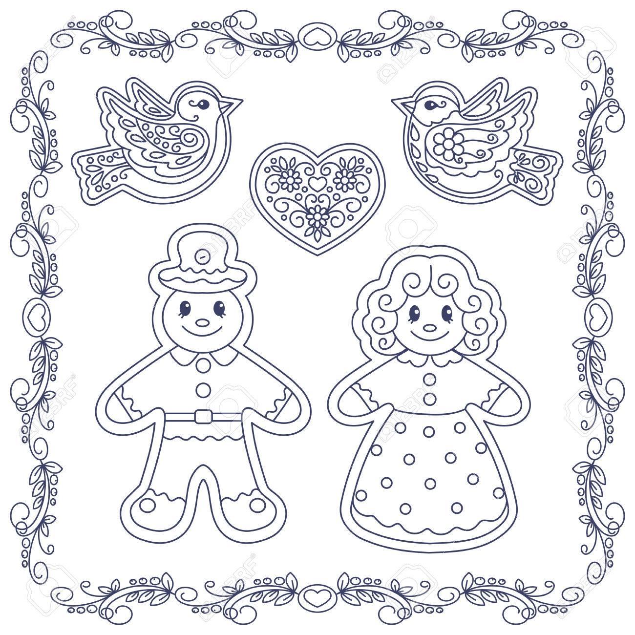Livre Illustration Coloriage Pain Dépice De Noël Hommes Clip Art