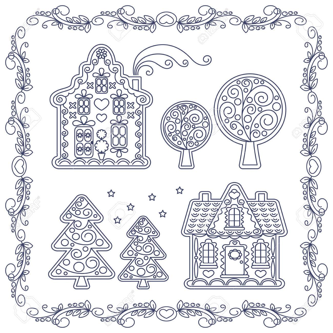 illustration coloring book christmas gingerbread houses stock vector 60646976