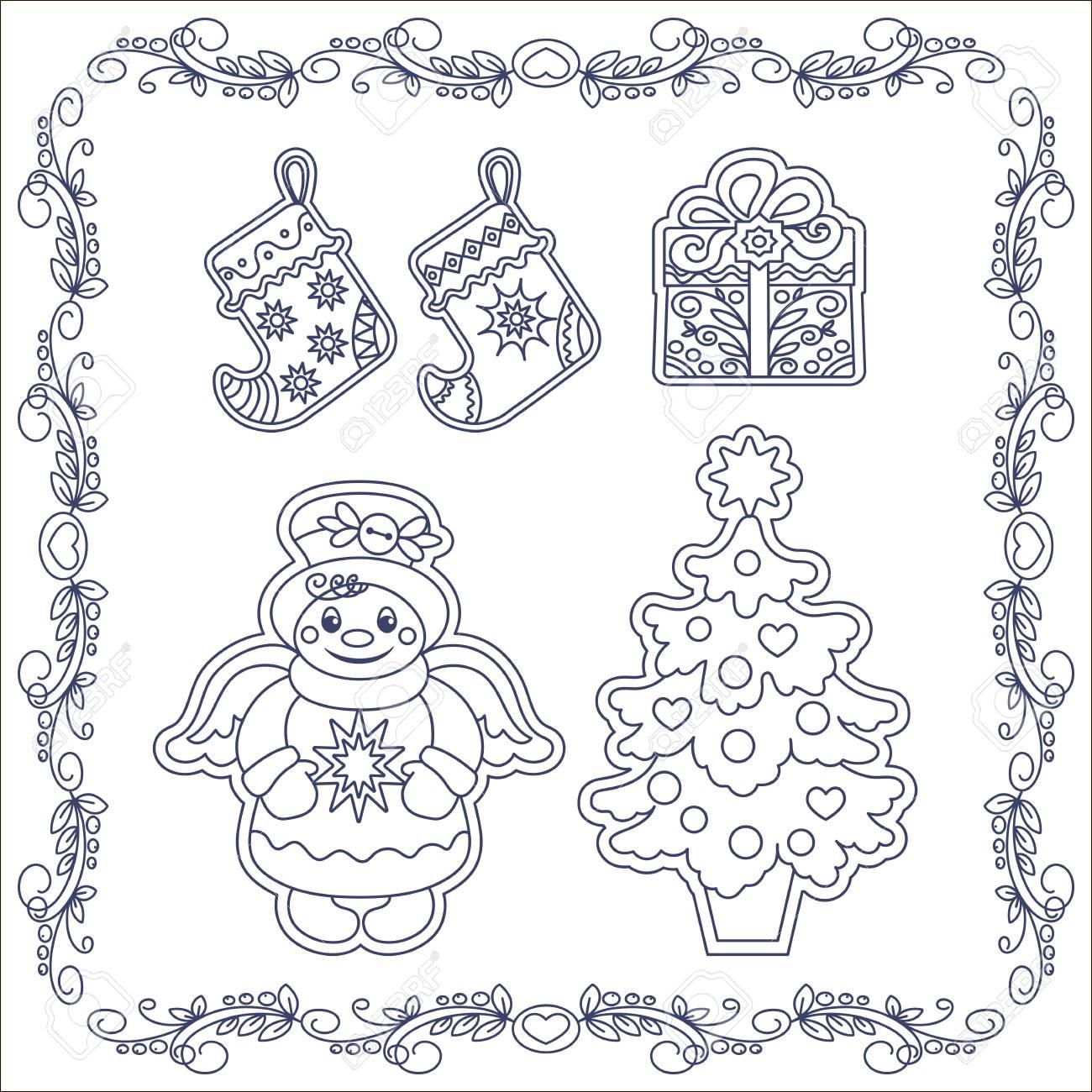 Ilustración De Pan De Jengibre Para Colorear Libro De Navidad ...