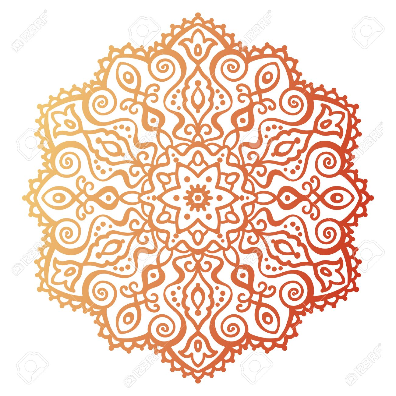 Vector illustration outline mandala abstract element for design east doodle