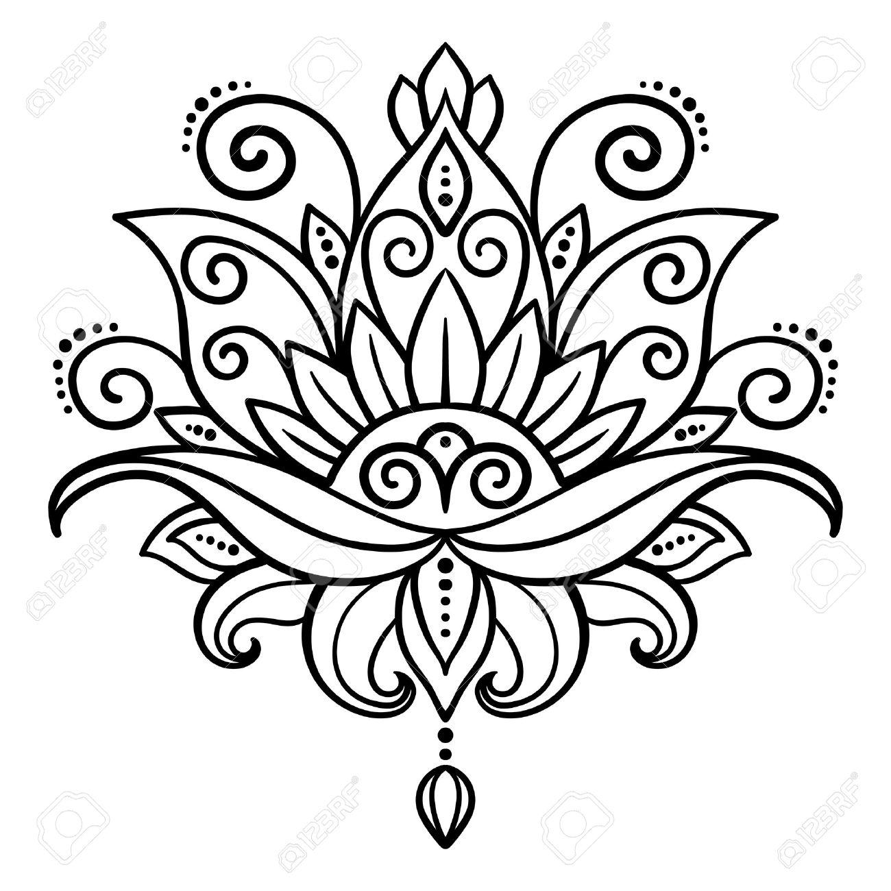 Vector Extracto Estilo Oriental Flor Loto Tatuaje Elemento De