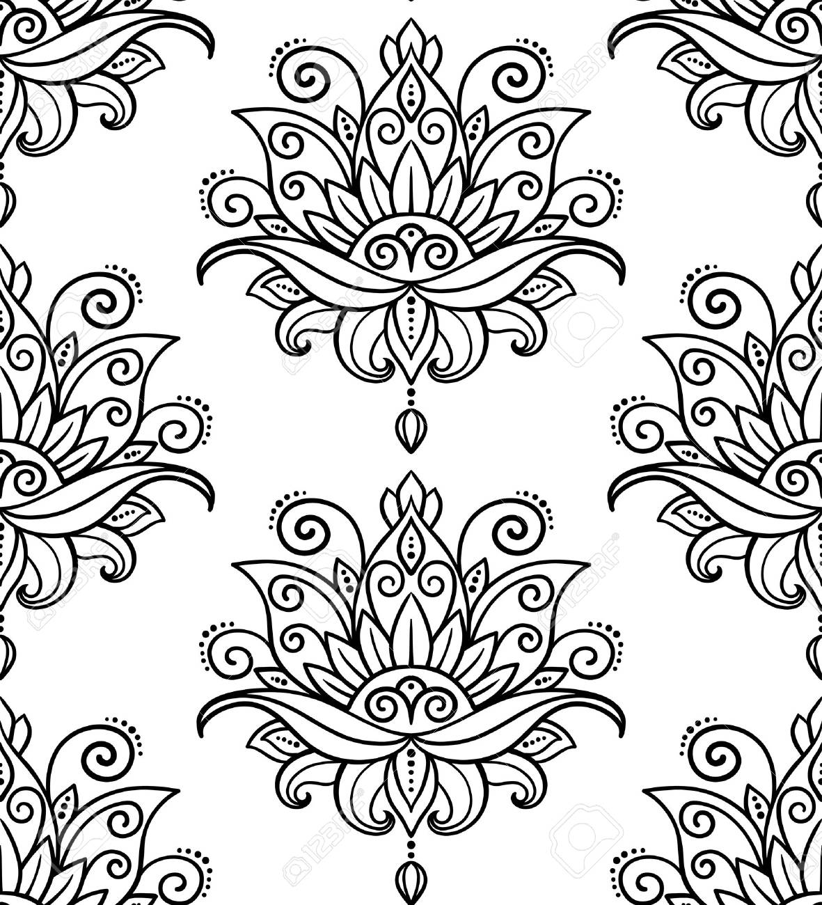 vector abstract seamless pattern oriental style flower lotus design element