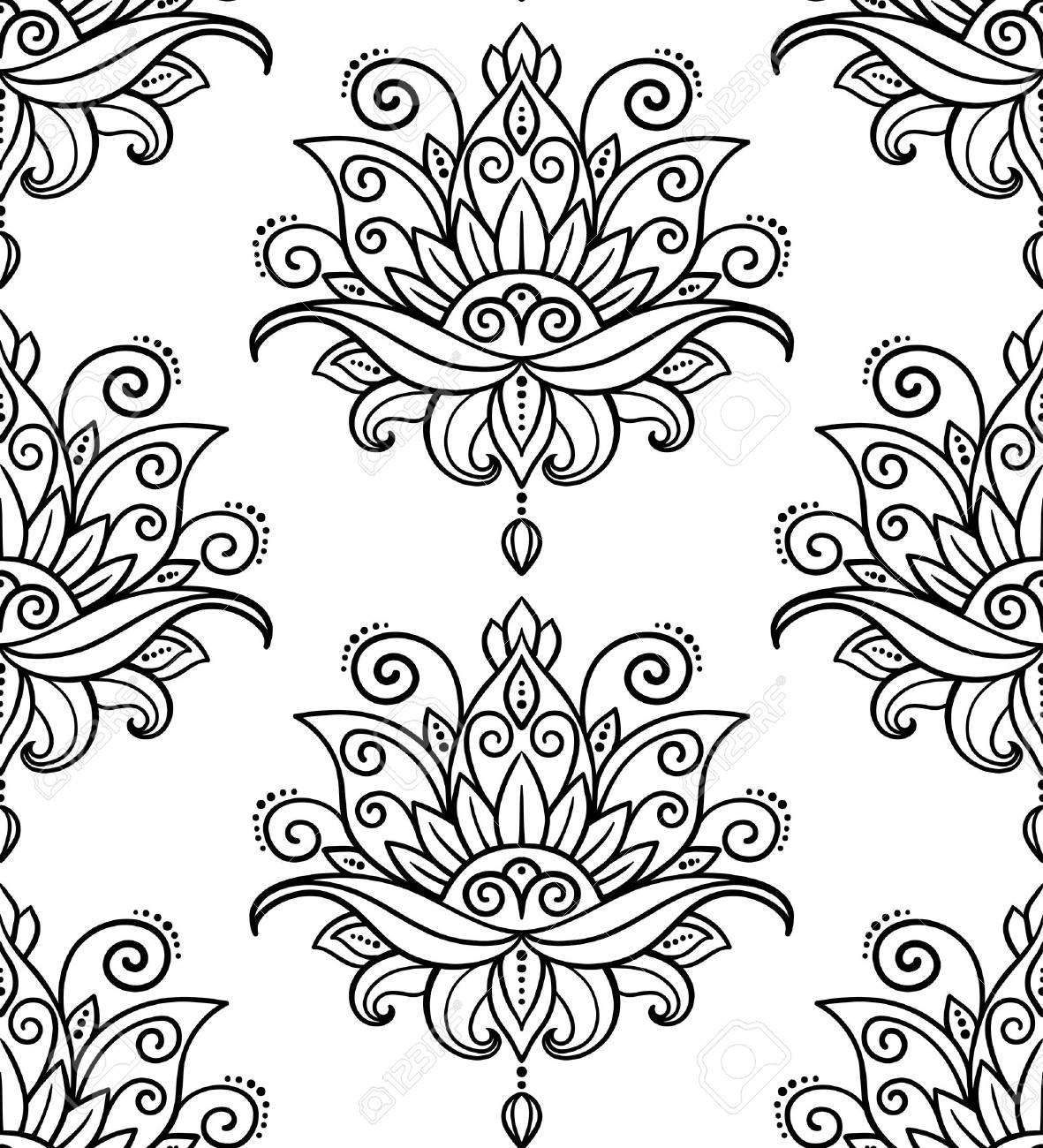 Vector, Abstracto, Patrón Transparente, Estilo Oriental, Flor, Loto ...