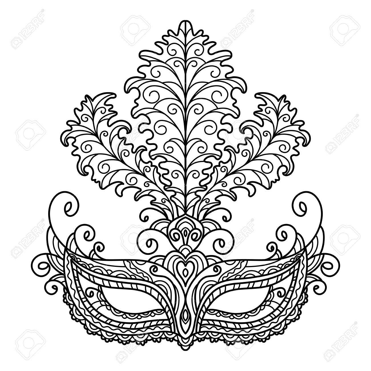 Vector, Black And White Illustration, Outline, Mask, Masquerade ...