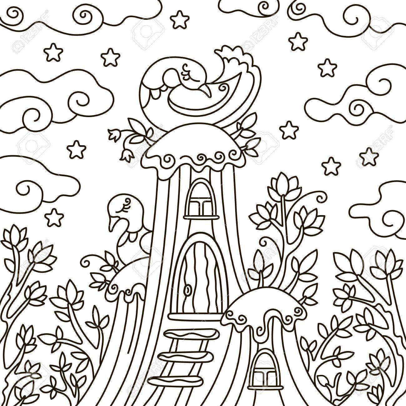 Coloriage Maison Dans La Foret.Illustration Vectorielle Contour Element De Design Un Livre De Coloriage Une Foret Magique Oiseau Nuit Arbre Maison Etoiles
