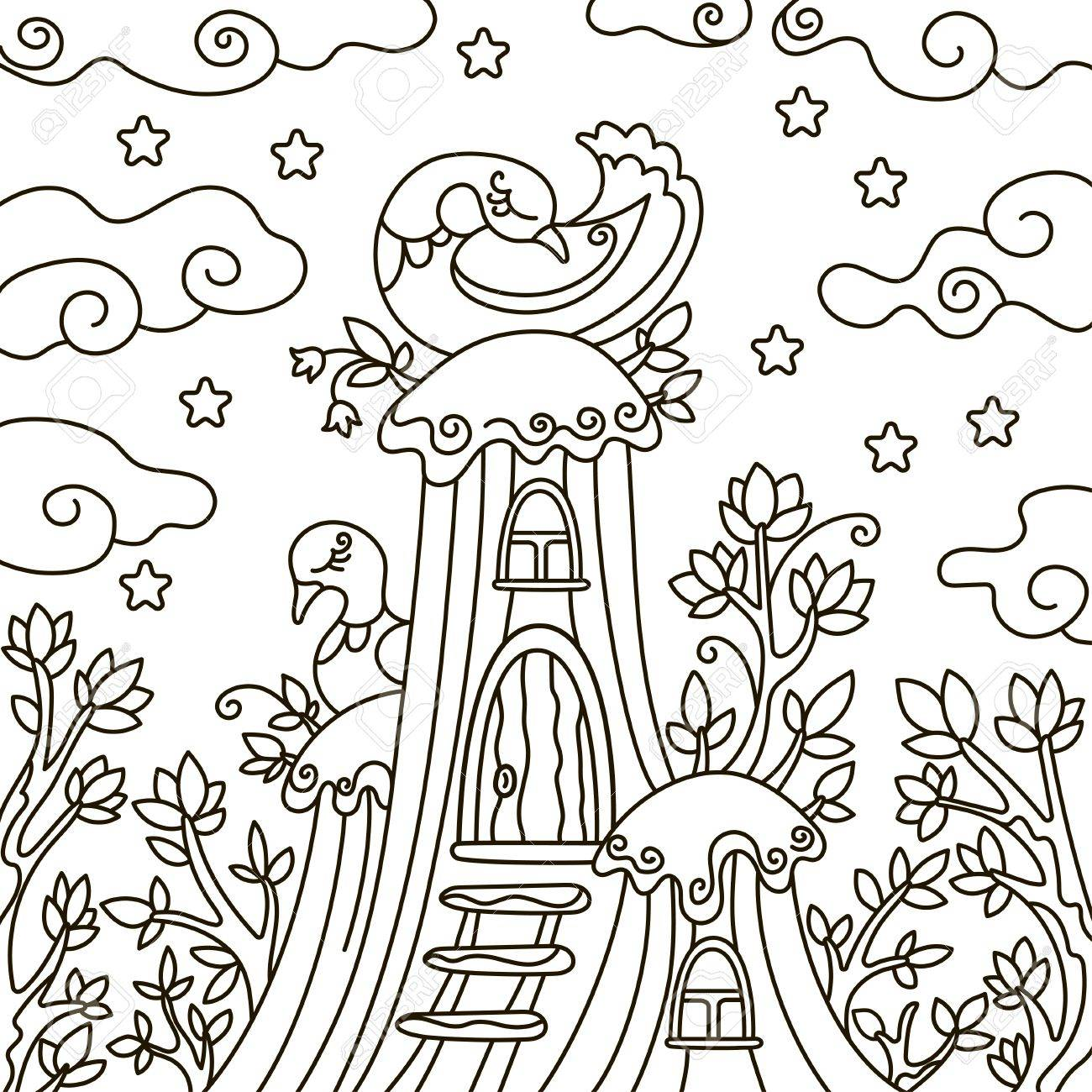 Vector Illustration Outline Design Element A Coloring Book