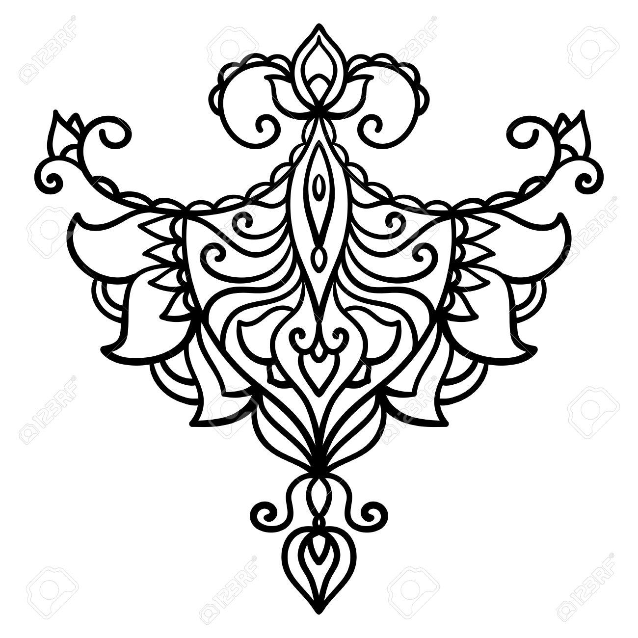 Abstraite Style Oriental Fleur Lotus Tatouage Element De Design