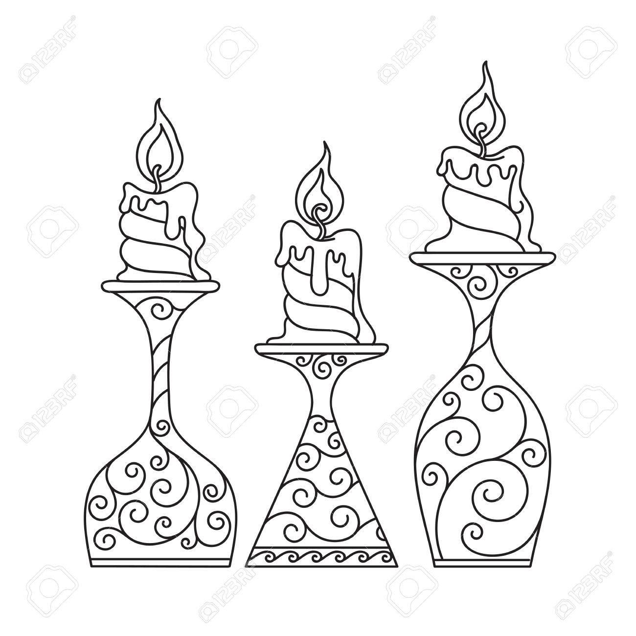 Ilustración Esquema Libro Para Colorear Conjunto Vela En Un Candelero Llama Abstracción