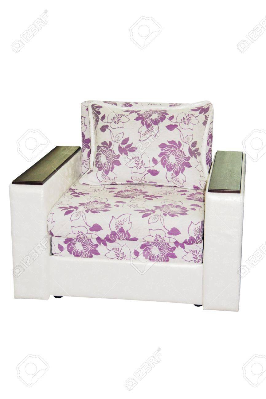 Chaise Blanche Avec Accoudoirs Isol Sur Blanc Banque DImages Et