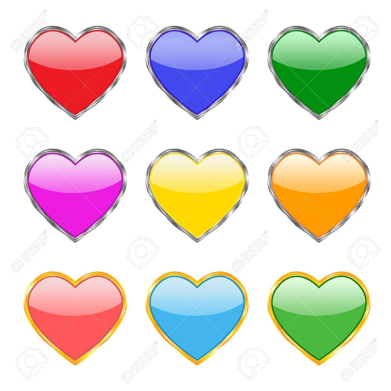 A set of nine buttons in the form of hearts in different colors