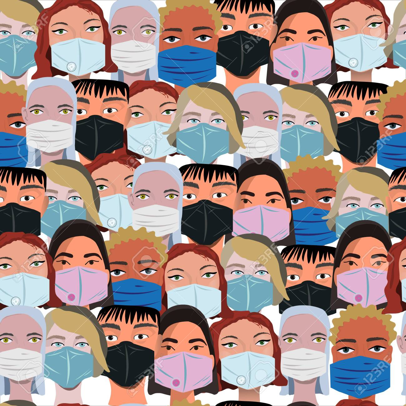 Multinational Crowd Wearing Protective Face Mask Seamless Pattern ...