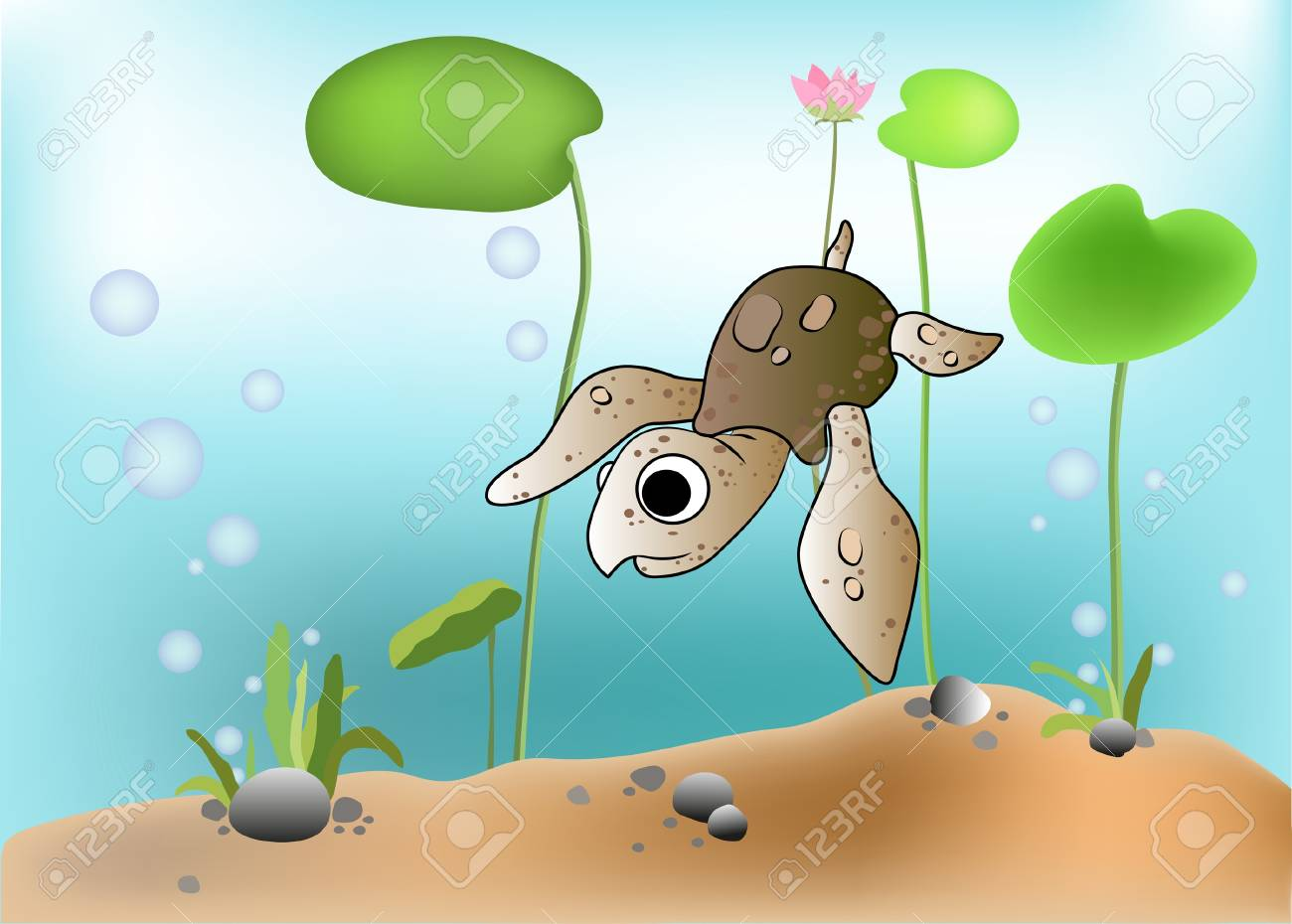 Illustration of a turtle scene underwater Stock Vector - 17437786