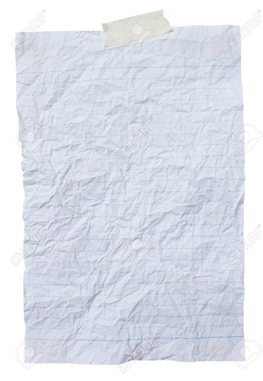 crumpled lined sheet of paper background stock photo, picture and