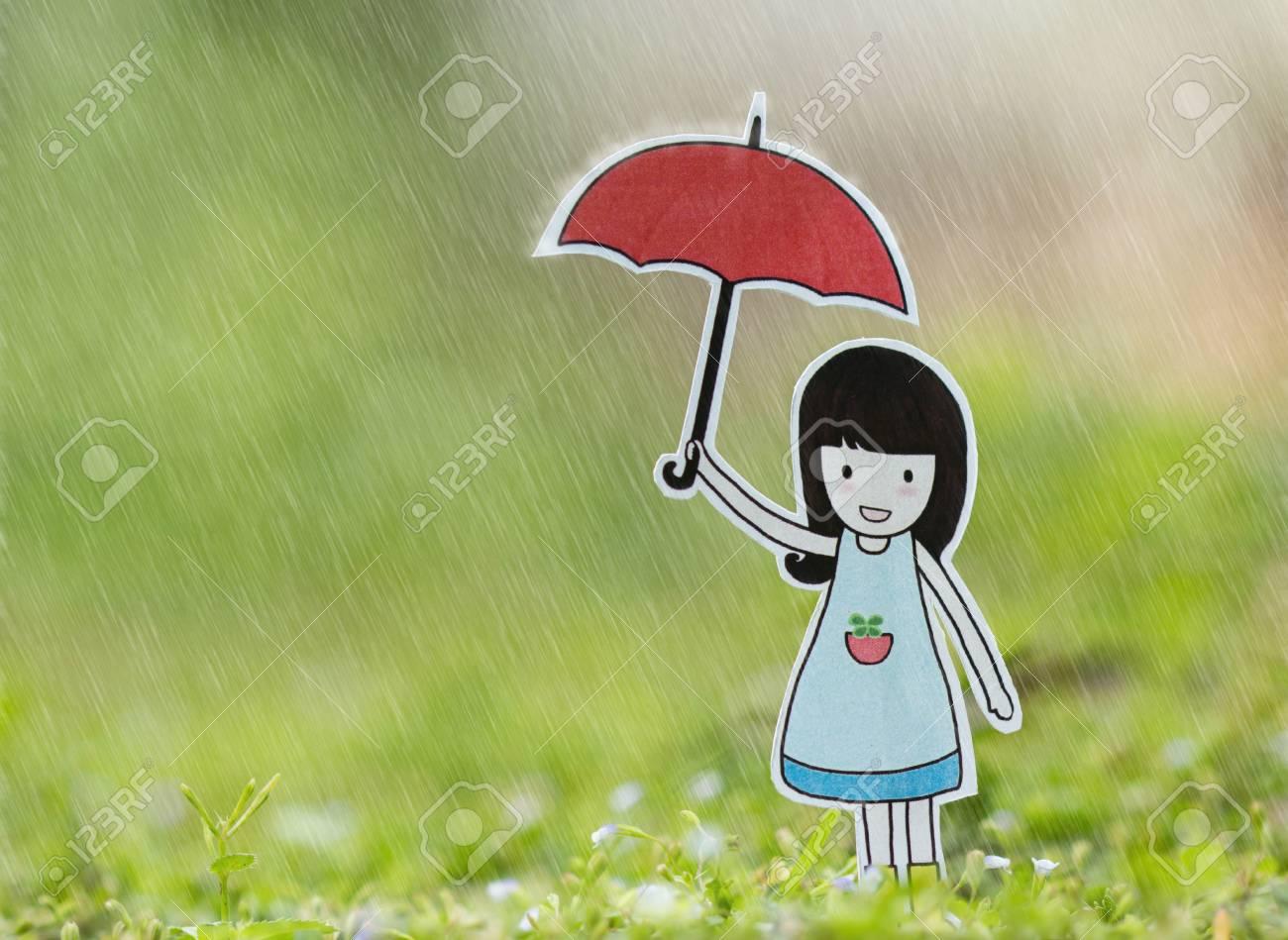 e472b7963bb Girl on the rain with red umbrella Stock Photo - 42649150