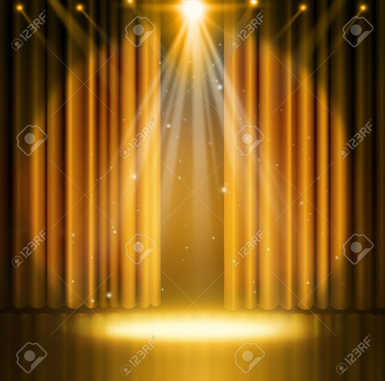 Gold curtains on theater with spotlight. - 50212316