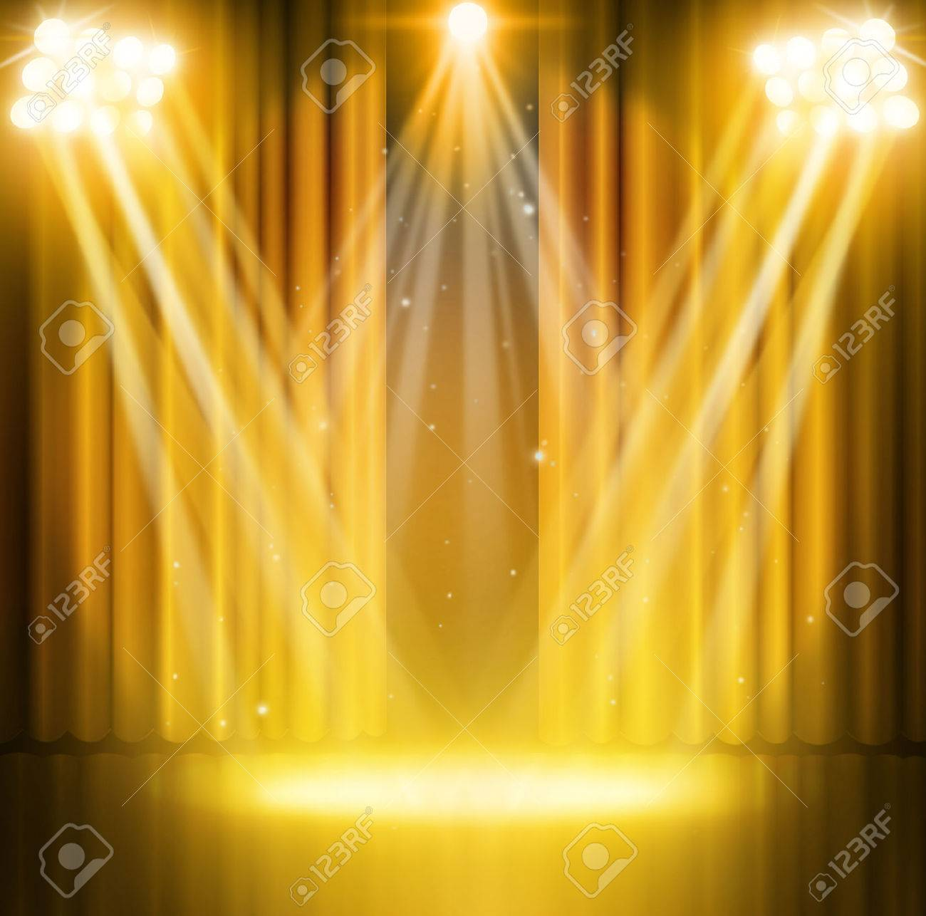 Gold curtains on theater with spotlight. - 50212330
