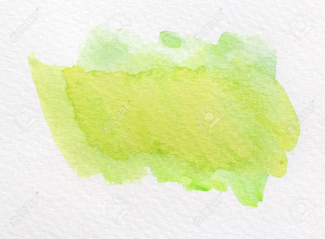 Green Wet Watercolor Wash Background Ombre Stock Photo