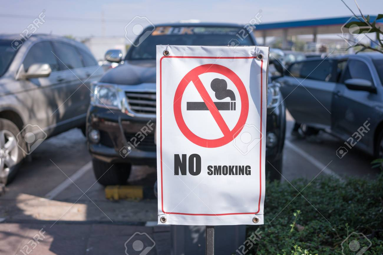 Near Gas Station >> No Smoking Sign Near The Parking Lot In Gas Station Stock Photo