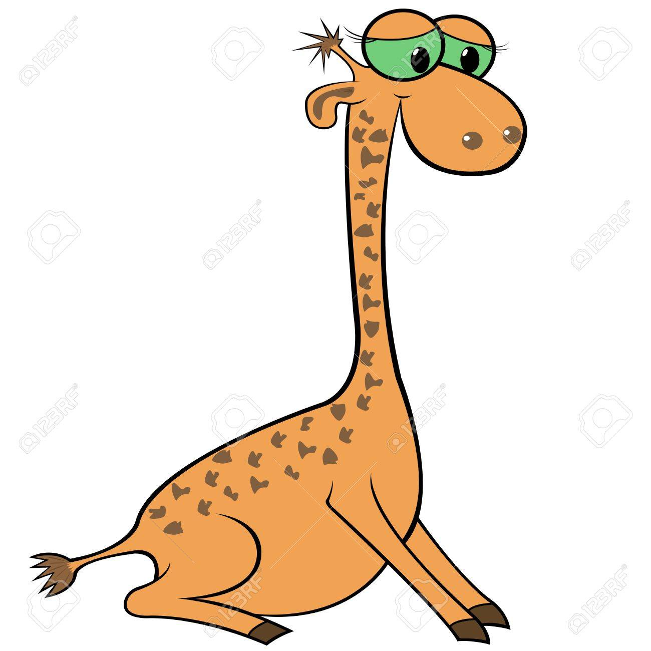 giraffe isolated on white background hand drawing cartoon