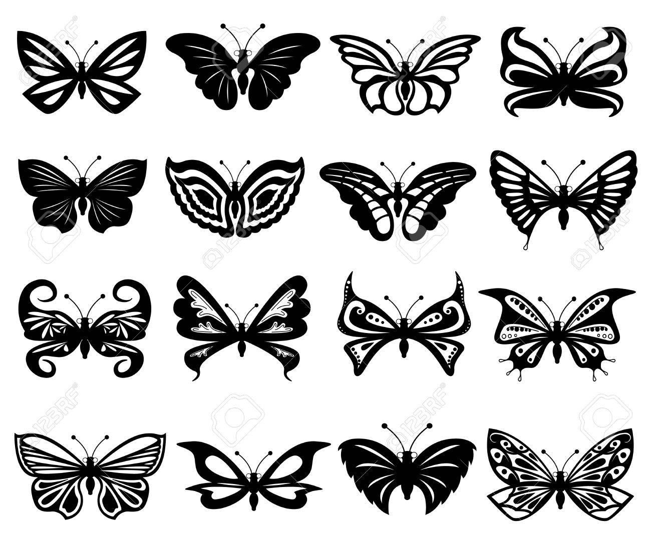 Conjunto De Dieciseis Diferentes Hermosas Mariposas En Blanco Y