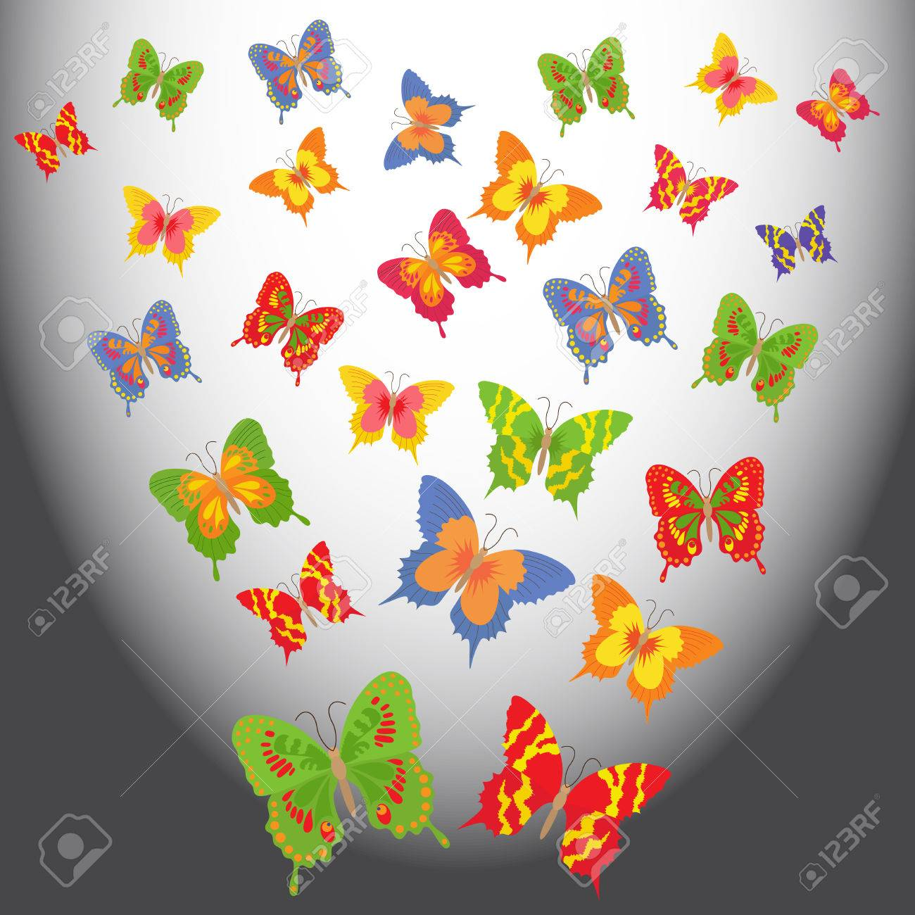 Colorful Animated Butterflies Flying In A Light Space Hand Drawing Vector Illustration Stock