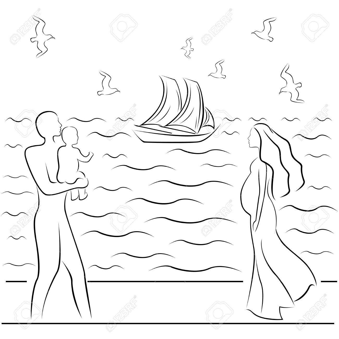 Homme Tenant Un Bébé Et Une Femme Enceinte Sur Une Côte De La Mer Dessin à La Main En Noir Et Blanc Illustration Vectorielle