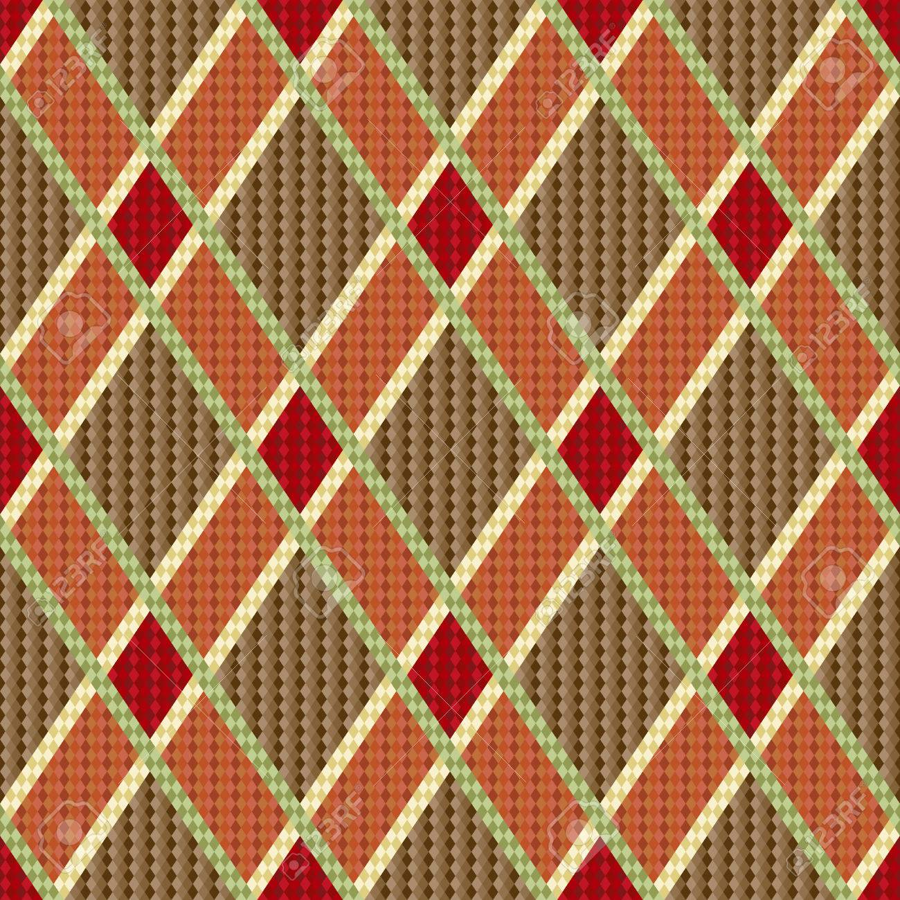 Rhombic seamless red and brown vector pattern as a tartan plaid Stock Vector - 26551743