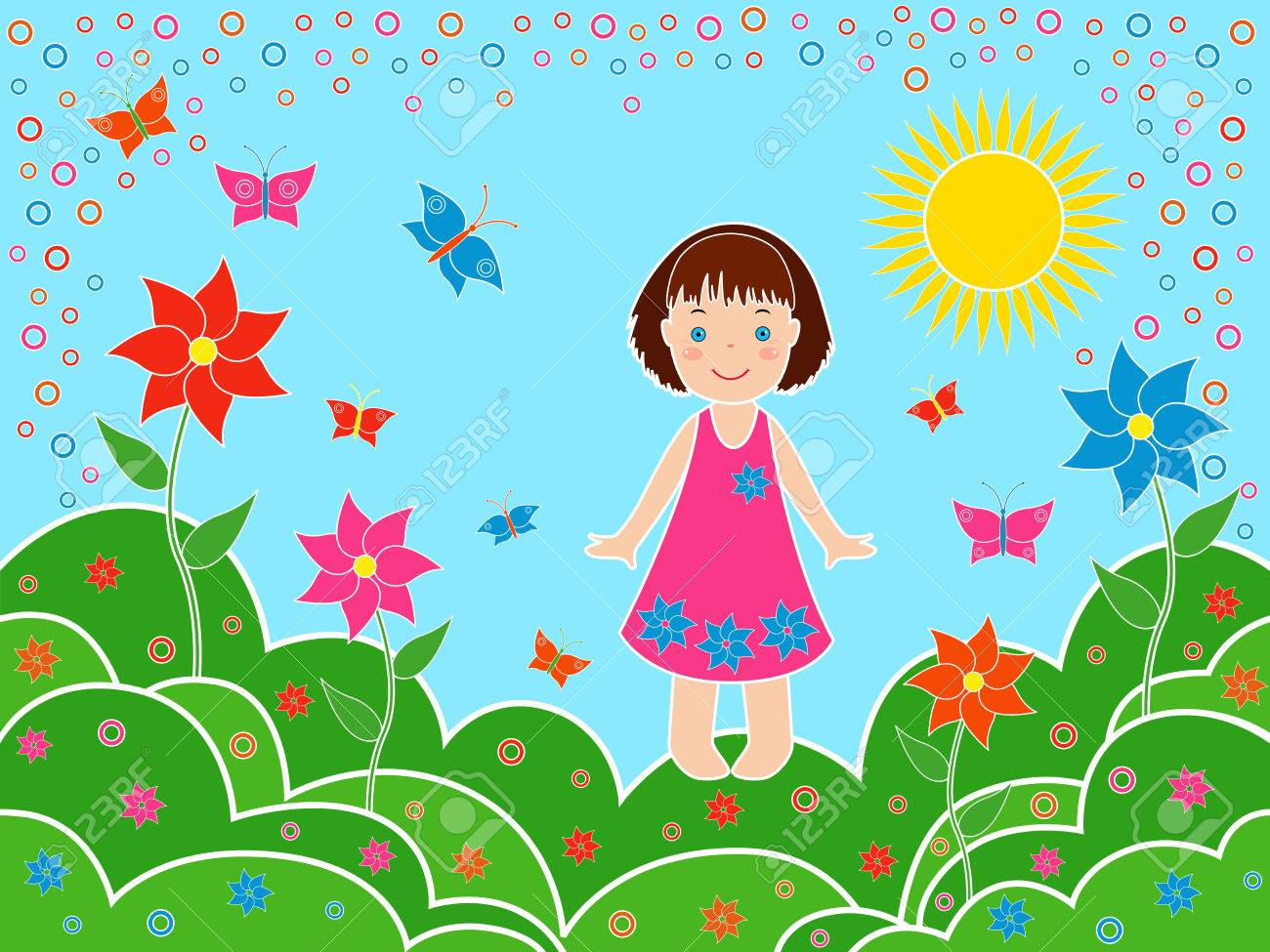 small children girl on the meadows in sunny summer day multicolor hand drawing vector illustration - Drawing For Small Children
