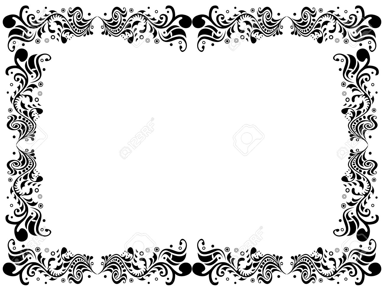 black and white blank border with floral elements hand drawing