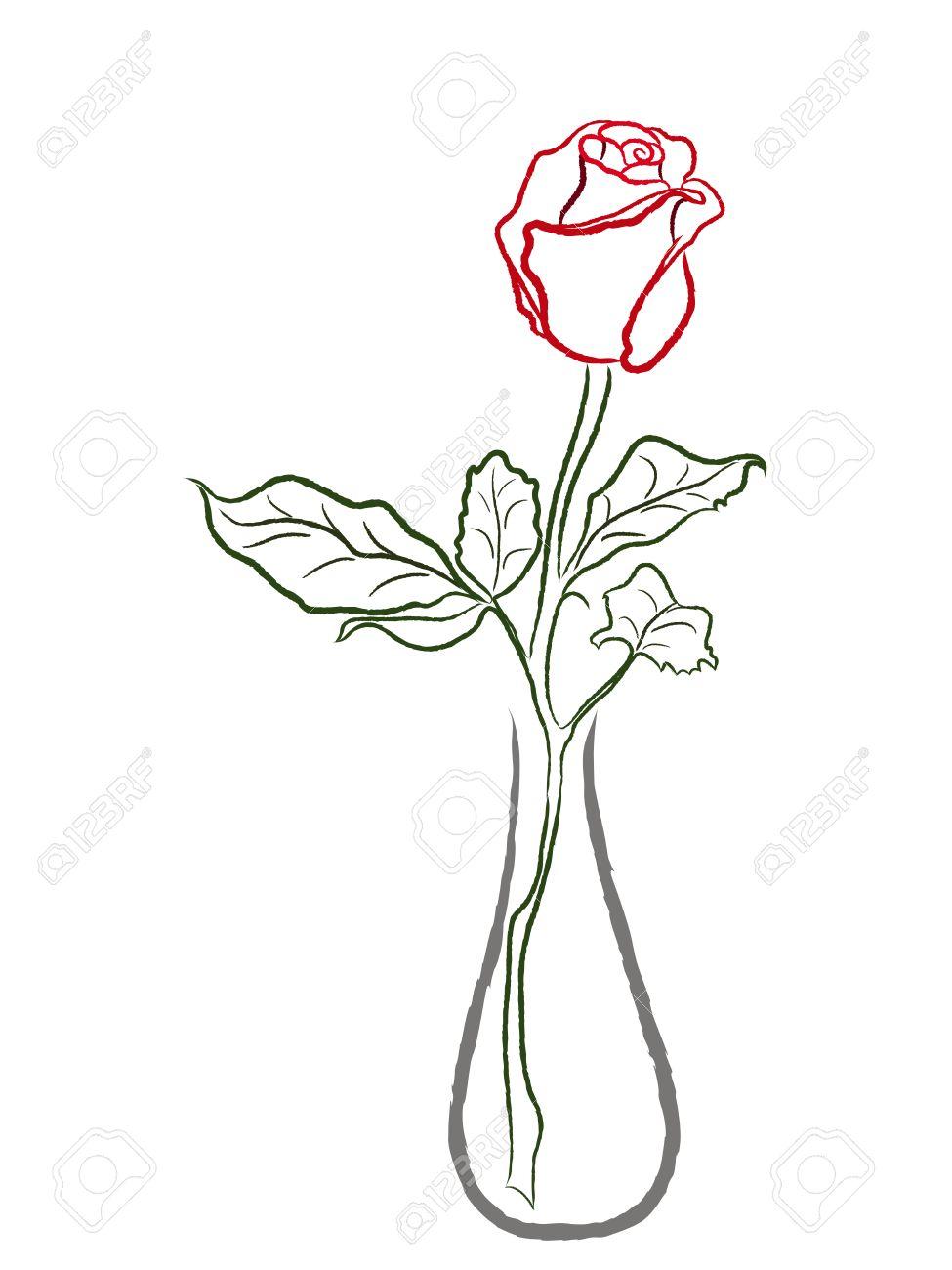 Rose Rouge Stylisee Dans Un Vase Isole Sur Fond Blanc Dessin A La
